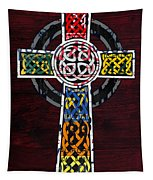 Celtic Cross License Plate Art Recycled Mosaic On Wood Board Tapestry