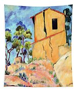 Cezanne's House With Cracked Walls Tapestry