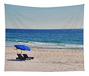 Chairs On The Beach With Umbrella Tapestry