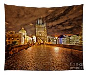 Charles Bridge At Night Tapestry