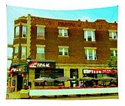 Charlevoix Pizza Et Chic Regal Rue Centre Scenes De Rue Pointe St Charles City Scenes Carole Spandau Tapestry