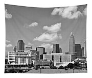 Charlotte Skyline In Black And White Tapestry