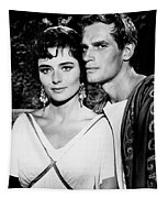 Charlton Heston And Marina Berti Tapestry