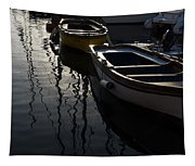 Charming Old Wooden Boats In The Harbor Tapestry