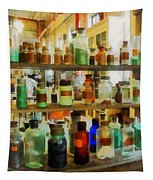 Chemistry - Bottles Of Chemicals Green And Brown Tapestry