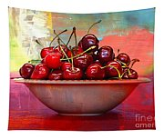 Cherries On The Table With Textures Tapestry