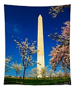 Cherry Blossoms At The Monument Tapestry