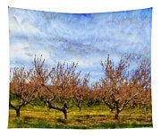 Cherry Trees With Blue Sky Tapestry