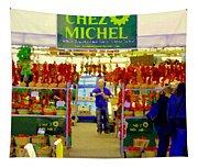 Chez Michel Fruits Et Legumes Frais Fleur Jardin Sapins Food Kiosk Chef Art Scenes Carole Spandau Tapestry