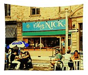 Chez Nick On Greene Avenue Montreal In Summer Cafe Art Westmount Terrace Bistros And Umbrellas Tapestry