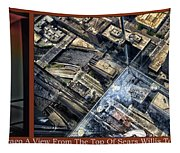 Chicago A View From The Top Of Sears Willis Tower Hdr Triptych 3 Panel Tapestry