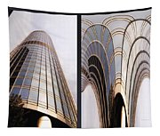 Chicago Abstract Before And After Sunrays On Trump Tower 2 Panel Tapestry