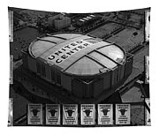 Chicago Bulls Banners In Black And White Tapestry