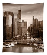 Chicago City View Afternoon B And W Tapestry