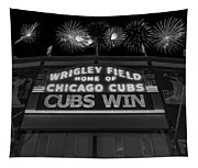 Chicago Cubs Win Fireworks Night B W Tapestry