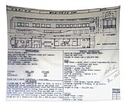Chicago Eastern Il Rr Business Car Blue Print Tapestry