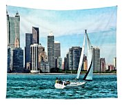 Chicago Il - Sailboat Against Chicago Skyline Tapestry