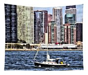 Chicago Il - Sailing On Lake Michigan Tapestry