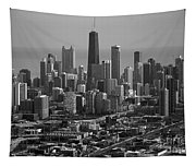 Chicago Looking East 01 Black And White Tapestry