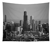 Chicago Looking East 02 Black And White Tapestry