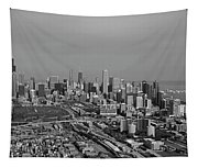 Chicago Looking North 01 Black And White Tapestry