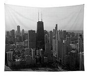 Chicago Looking South 01 Black And White Tapestry