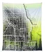 Chicago Map Gradient Tapestry