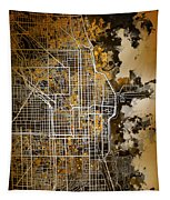 Chicago Map Orange Version Tapestry