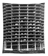 Chicago Marina City Parking Bw Tapestry