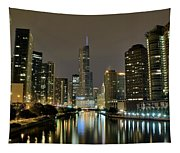 Chicago Night River View Tapestry