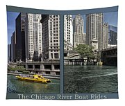 Chicago River Boat Rides 2 Panel Tapestry