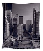 Chicago River Bridges South Bw Tapestry