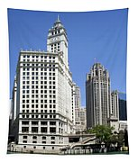 Chicago River Walk Wrigley And Tribune Tapestry