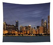 Chicago Skyline At Night Color Panoramic Tapestry