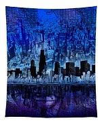 Chicago Skyline Blue Version Tapestry