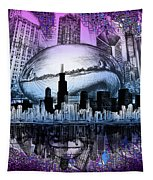 Chicago Skyline Drawing Collage 2 Tapestry