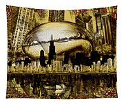 Chicago Skyline Drawing Collage 3 Tapestry