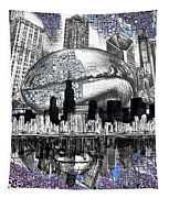 Chicago Skyline Drawing Collage Tapestry