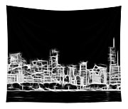 Chicago Skyline Fractal Black And White Tapestry