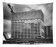 Chicago Sun Times Facade After The Storm Bw Tapestry
