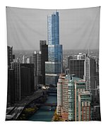 Chicago Trump Tower Blue Selective Coloring Tapestry