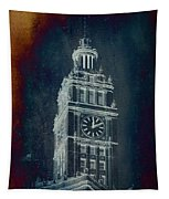 Chicago Wrigley Clock Tower Textured Tapestry