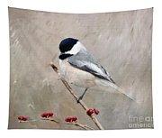 Chickadee And Berries Tapestry
