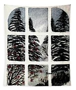 Chickadees And Dogberries Abstraction Tapestry