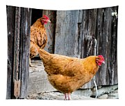 Chickens At The Barn Tapestry
