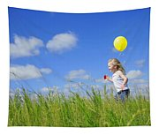 Child Running With A Balloon Tapestry