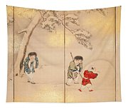 Children Playing In Summer And Winter Tapestry