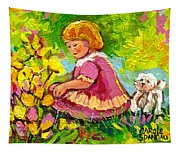 Children's Art - Little Girl With Puppy - Paintings For Children Tapestry