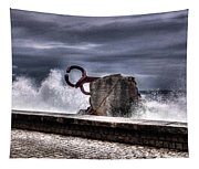 Chillidas Comb Of The Wind In San Sebastian Basque Country Spain Tapestry