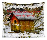 Chilly Birdhouse Holiday Card Tapestry